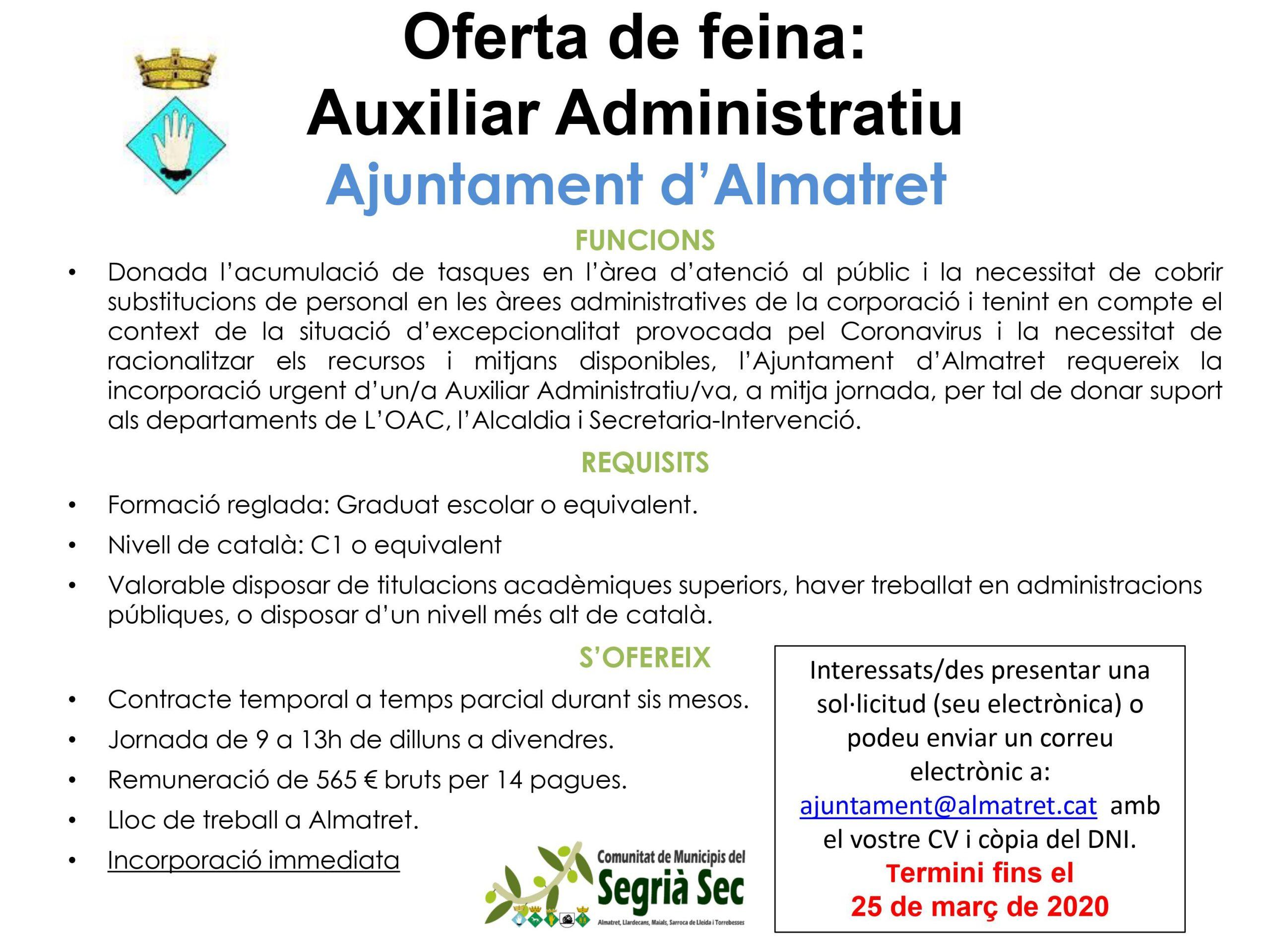 Oferta de feina. Auxiliar administratiu Ajuntament d'Almatret